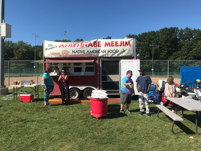 The Native American owned and operated food truck Anishnabe Meejim is seen at the Lansing Harmony Celebration on Sept. 14, 2019.