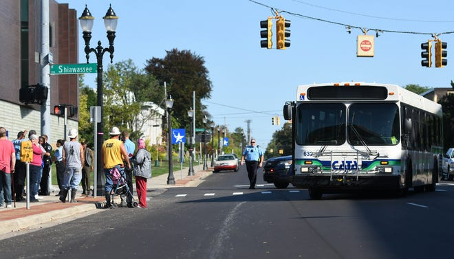 The scene at W. Shiawassee and Captial Avenue in downtown Lansing where a CATA bus hit a pedestrian, Wedneday, Sept. 18, 2019.