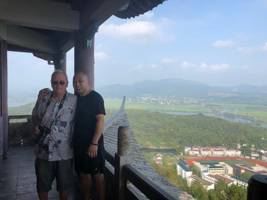 Zoe Halbeisen's birth father Chen Xin Zhong and adoptive father Stephen Halbeisen together during a recent visit to China.