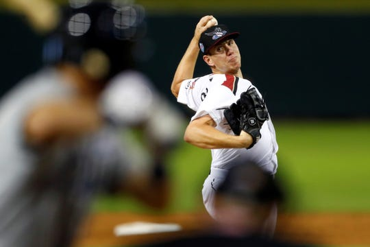 Sacramento River Cats starting pitcher Caleb Baragar delivers to the plate against the Columbus Clippers in the Triple-A National Championship game at AutoZone Park in Memphis.