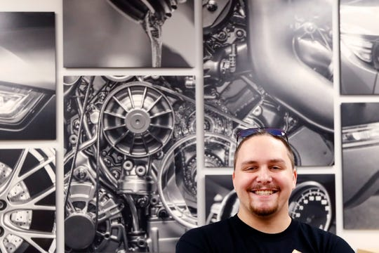 Chad Reynolds, 19, a student at Moore Tech's new automotive repair facility, built in a partnership with local auto dealerships who are seeing an impending shortage in labor for mechanic positions, as they celebrated their opening on Wednesday, Sept. 18, 2019.
