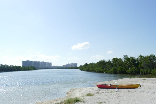 A kayak sits next to the Tigertail Lagoon in Marco Island on Sept. 11, 2019.  Kayaks can get stuck in the mud during low tide, according to councilor Richard Blonna.