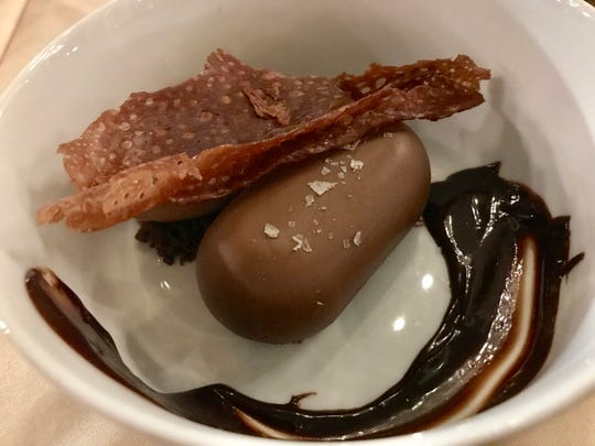 The chocolate dessert at Fauntleroy included chocolate cremeux, chocolate sorbet and caramelized chocolate.