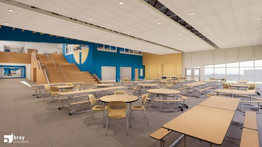 An architectural rendering  of a commons area in the planned new Cristo Rey Jesuit High School at 1818 W. National Ave.