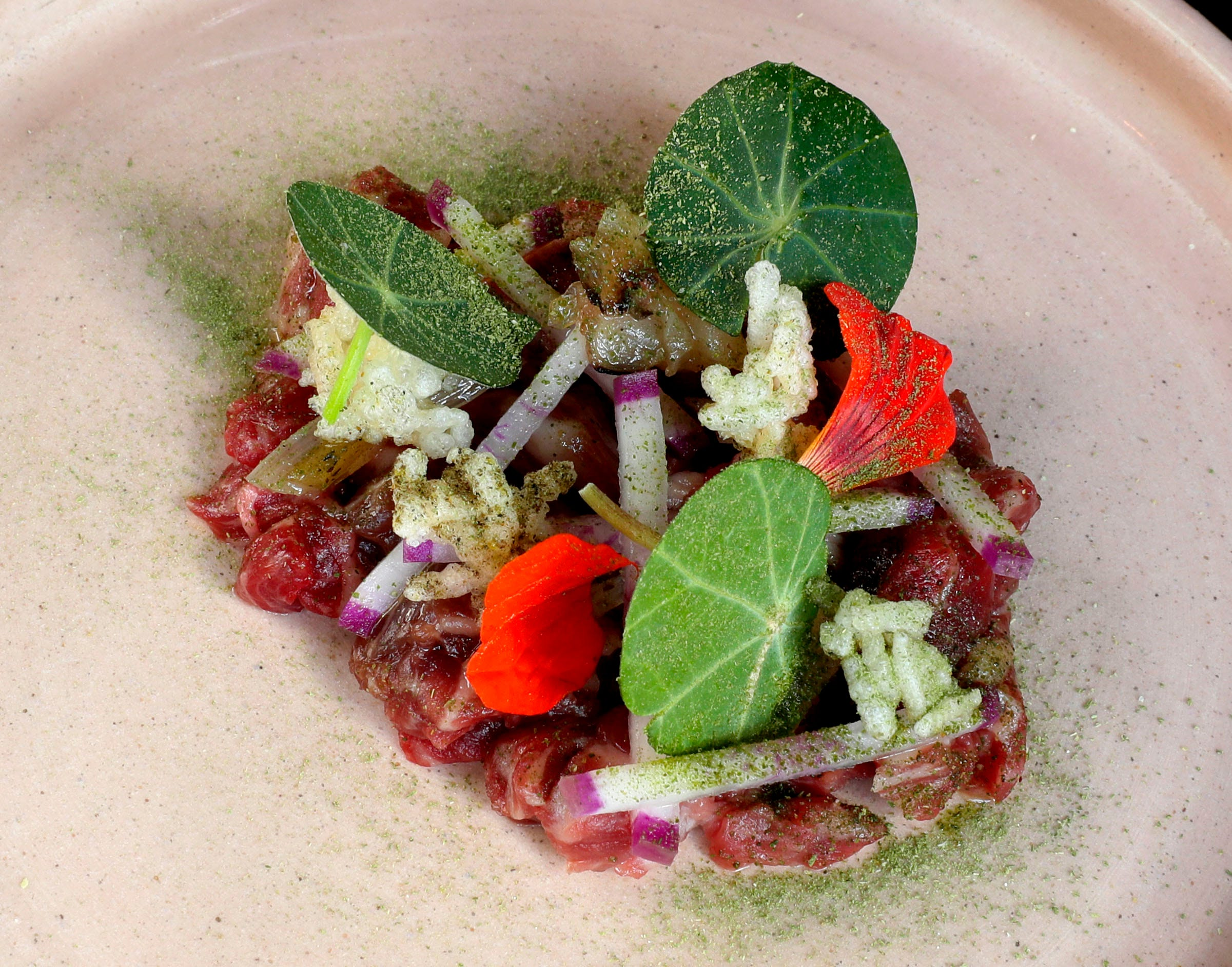 Steak tartare made with ramps, XO sauce, pickled onions and rice was a recent item offered at Esterev.