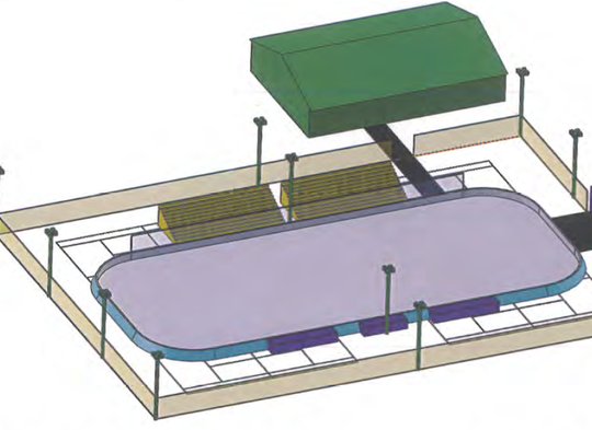 A youth hockey organization plans to create an ice rink over six tennis courts at Cahill Park from mid-November to mid-March, starting in 2020. The green building is the existing warming house, which would be used as a locker room. This rendering does not show the equipment shed that would be placed just south of the bleachers.