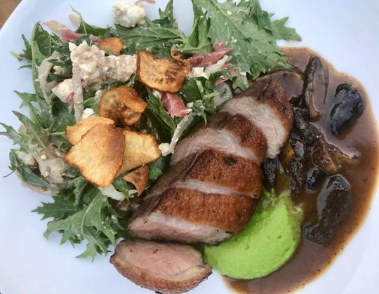 At Morel in late spring, main dish of duck breast with duck jus, morels and sherry was accompanied by a flavorful salad: mizuna, rhubarb, radish, hickory nuts and duck-liver vinaigrette.