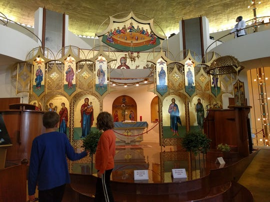 Owen and Lauren Schmitt, of Menomonee Falls, tour the Annunciation Greek Orthodox Church during Doors Open Milwaukee in 2018.
