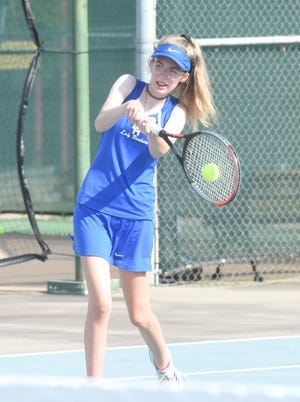 Mountain Home's Micaela McLean returns a shot during recent action at Mountain Home Athletic Club.