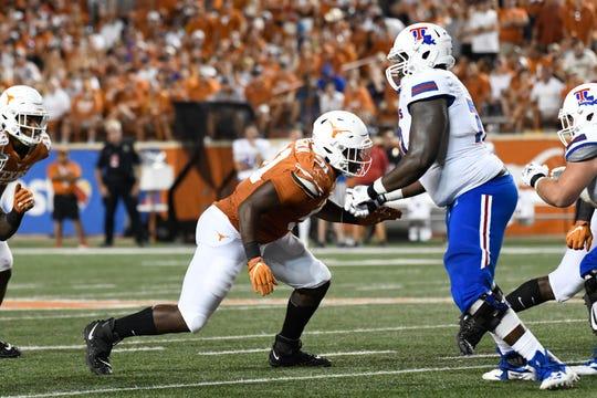 Aug 31, 2019; Austin, TX, USA; Texas Longhorns defensive lineman Jamari Chisholm (91) in the second half in a game against the Louisiana Tech Bulldogs at Darrell K Royal-Texas Memorial Stadium. Mandatory Credit: Scott Wachter-USA TODAY Sports