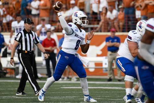 Aug 31, 2019; Austin, TX, USA; Louisiana Tech Bulldogs quarterback J'Mar Smith (8) throws a pass in the first half of a game against the Texas Longhorns at Darrell K Royal-Texas Memorial Stadium. Mandatory Credit: Scott Wachter-USA TODAY Sports