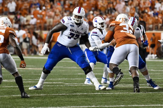 Louisiana Tech Bulldogs right tackle Gewhite Stallworth (77) in the second half against the Texas Longhorns at Darrell K Royal-Texas Memorial Stadium.
