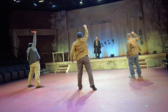 """Mike Labbadia, Andy Rindlisbach, Dria Brown, Edmund Lewis in a scene from """"Saint Joan"""" at the Alabama Shakespeare Festival in Montgomery."""