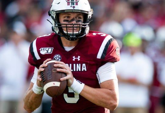 South Carolina quarterback Ryan Hilinski (3) looks to throw against Alabama at Williams-Brice Stadium in Columbia, S.C., on Saturday September 14, 2019.