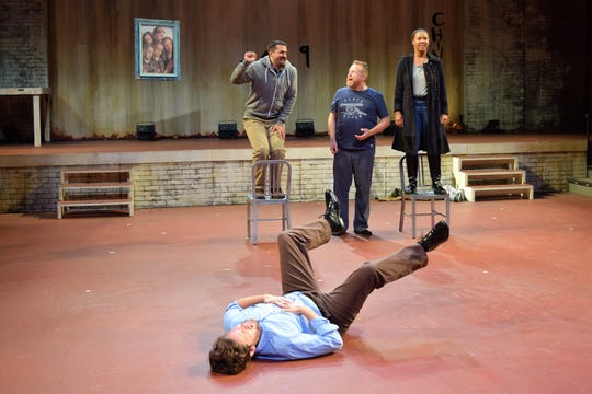 "Andy Rindlisbach, Mike Labbadia, Edmund Lewis, Dria Brown in a scene from ""Saint Joan"" at the Alabama Shakespeare Festival in Montgomery."
