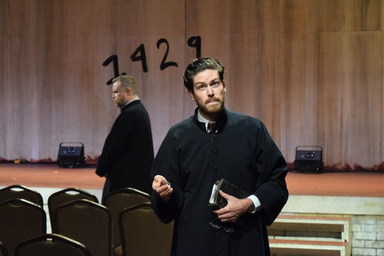 "Andy Rindlisbach, Edmund Lewis in a scene from ""Saint Joan"" at the Alabama Shakespeare Festival in Montgomery."
