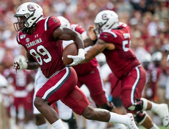 South Carolina wide receiver Bryan Edwards (89) carries against Alabama at Williams-Brice Stadium in Columbia, S.C., on Saturday September 14, 2019.