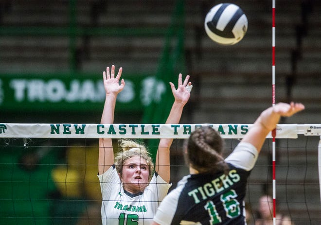 FILE -- New Castle faces off against Yorktown during their game at New Castle High School Tuesday, Sept. 17, 2019.