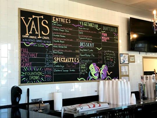 Yats' rotating menu features Cajun and Creole dishes, includingétouffée, jambalaya and gumbo.
