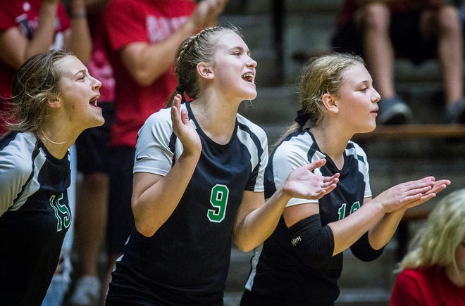 FILE -- Yorktown players cheer during their game against New Castle at New Castle High School Tuesday, Sept. 17, 2019.