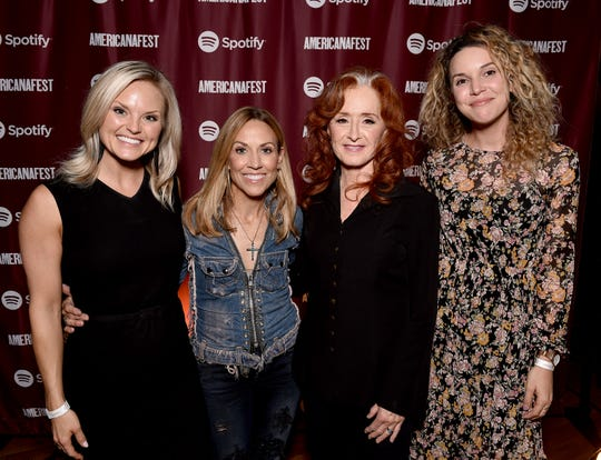 Spotify's Brittany Schaffer, artist Sheryl Crow, artist Bonnie Raitt and Spotify's Mary Catherine Kinney attend a special event hosted by Spotify and AmericanaFest at Cannery Ballroom.