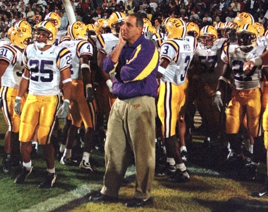 Louisiana State University head football coach Gerry DiNardo waits for the start of the LSU-Houston game Saturday nignt Nov. 13, 1999 in Baton Rogue, La.