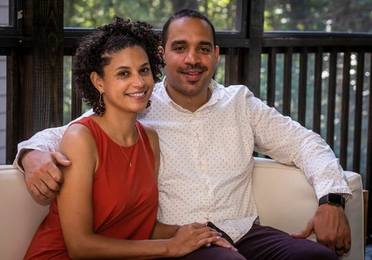 Cecily Montgomery and Reza Imani are photographed at their home in Nashville Wednesday, September 18, 2019.
