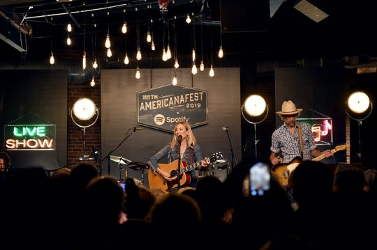 Sheryl Crow performs on stage during a special event hosted by Spotify and AmericanaFest at Cannery Ballroom.
