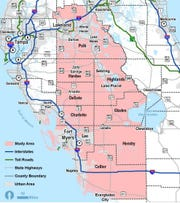 A map shows the area the Southwest-Central Florida Connector Task Force will study for a potential toll road from Polk to Collier counties.