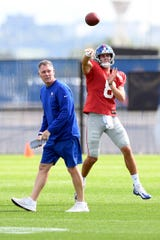 New York Giants head coach Pat Shurmur, left, named rookie Daniel Jones, right, the Giants starting quarterback in Week 3 against the Tampa Bay Buccaneers. Jones practices with the team on Wednesday, Sept. 18, 2019, in East Rutherford.