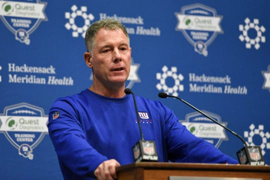 New York Giants head coach Pat Shurmur holds a press conference after announcing that rookie quarterback Daniel Jones will start against the Tampa Bay Buccaneers on Wednesday, Sept. 18, 2019, in East Rutherford.