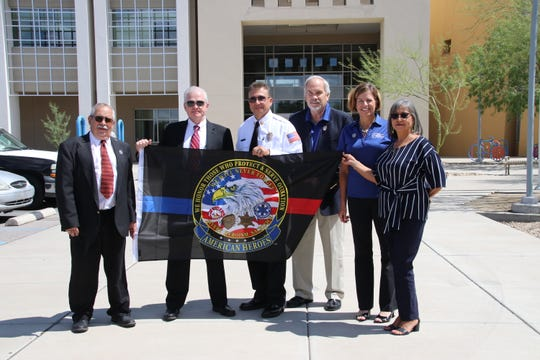 From left to right, Good Samaritan Executive Director Bob McDonald, Las Cruces Police Chief Patrick Gallagher, Las Cruces Fire Chief Eric Enriquez, Senior Living Manager Marty Hart, Senior Living Assistant Beth Walters and Administrative Assistant Pat Garcia.