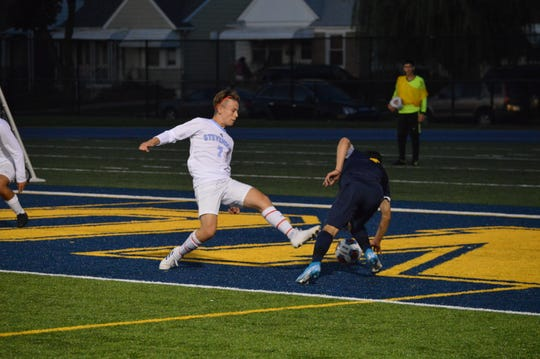 Livonia Stevenson junior defender Alec Alaouieh defends a pass. Livonia Stevenson ties Dearborn Fordson 1-1 on Sept. 17.