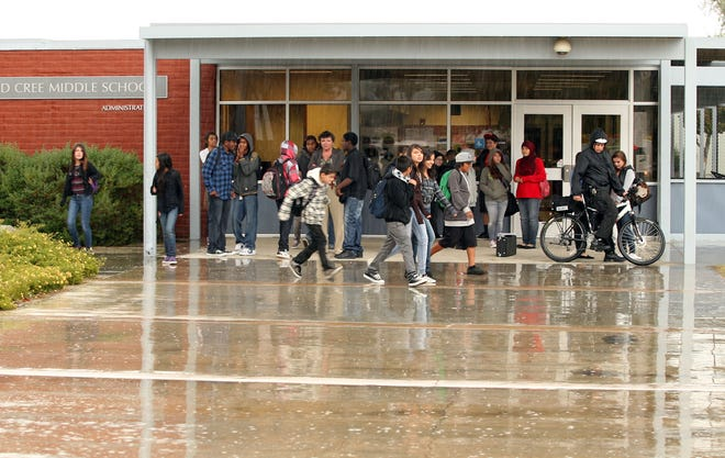 This file photo shows Raymond Cree Middle School at Vista Chino and Avenida Caballeros in Palm Springs. Its principal is encouraging drivers to slow down when passing the school.