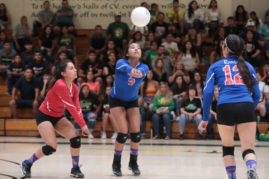 Indio's Briana Delval bumps the ball against Coachella Valley in Thermal on Tuesday, September 17, 2019.