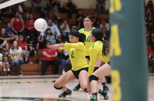 Coachella Valley's Iris Hernandez bumps the ball during the match against Indio in Thermal on Tuesday, September 17, 2019.