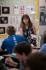 Students at Gulf Breeze High School receive instruction in science on Wednesday, Sept. 18, 2019.