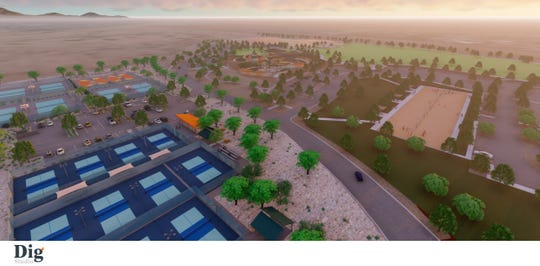 Phase 1B of Gilbert Regional Park, featuring an event lawn, pavilion, courts and more.