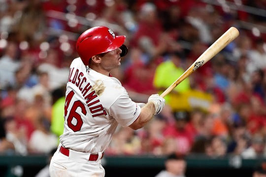 Cardinals first baseman Paul Goldschmidt (46) hits a two run double against the Giants during a game Sept. 4 at Busch Stadium.