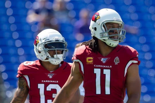 Larry Fitzgerald (11) and Christian Kirk (13) are the Arizona Cardinals' top two wide receivers.