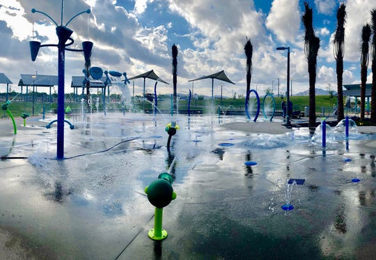 The splash pad at Gilbert Regional Park, which opens to the public Sept. 21. The play area boasts 57 water features.