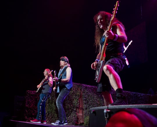 Iron Maiden entertain during their show at Talking Stick Resort Arena in Phoenix on Sept. 17, 2019.