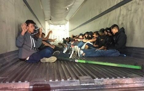 The U.S. Border Patrol found 31 Mexican immigrants inside the back of a tractor-trailer.