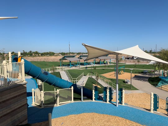 A slide and play areas at Gilbert's new regional park.