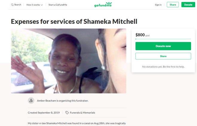 A screenshot of a GoFundMe campaign for Shameka Mitchell, 35.