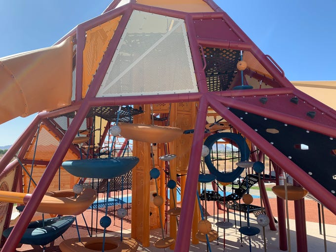 The 'mountain' play structure at the top of Gilbert Regional Park's new playground.