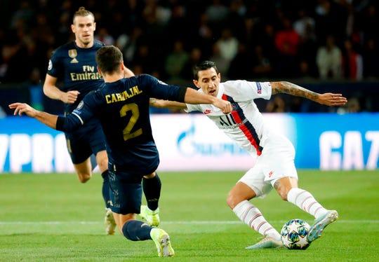 Ángel DiMaría fue el dolor de cabeza de la defensiva madrileña.