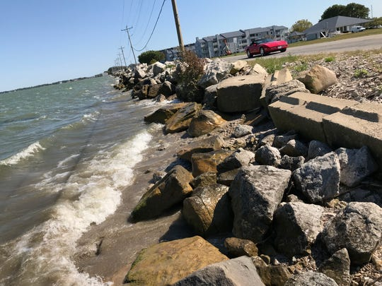 The coast of Lake Erie is now only eight feet away from Lakeshore Drive, which has Port Clinton officials concerned.