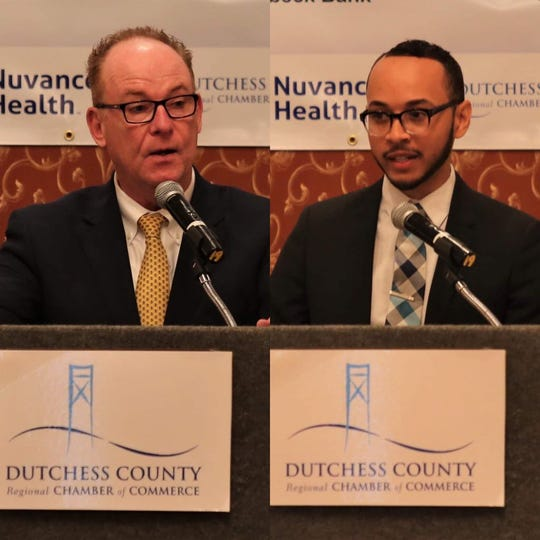 Poughkeepsie Mayoral Candidates Rob Rolison and Joash Ward talk Poughkeepsie City School District, public safety and infrastructure at the Dutchess County Regional Chamber of Commerce's September Contact Breakfast on Wednesday, Sept. 18, 2019.
