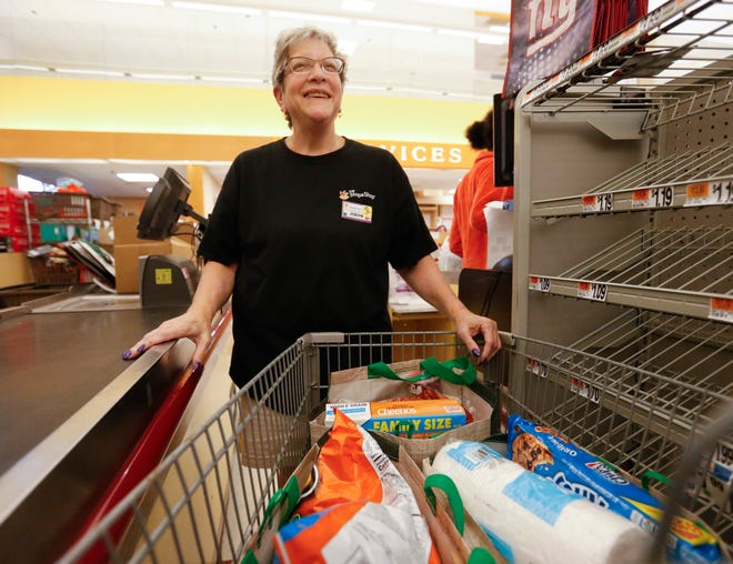 Joanne Chapman with a cart full of packed bags at the Poughkeepsie Stop and Shop on September 17, 2019. Chapman is preparing to compete in the New York State Best Bagger Competition this coming Saturday.